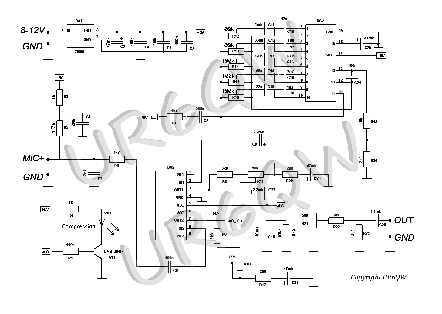 Ham Devices - EQ V.1 on compressor schematic, 5 band equalizer bass, vocoder schematic, 5 band equalizer settings, 5 band graphic equalizer,
